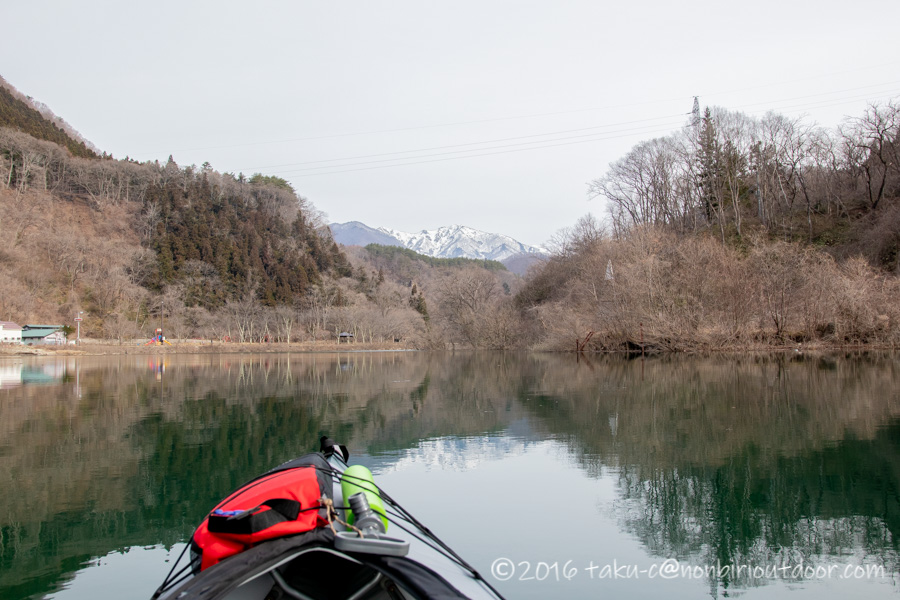赤谷湖から湯島オートキャンプ場までカヤックで戻る