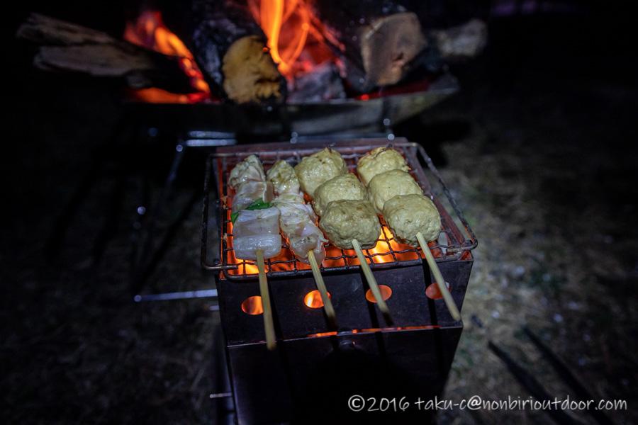 湯島オートキャンプ場での夕飯