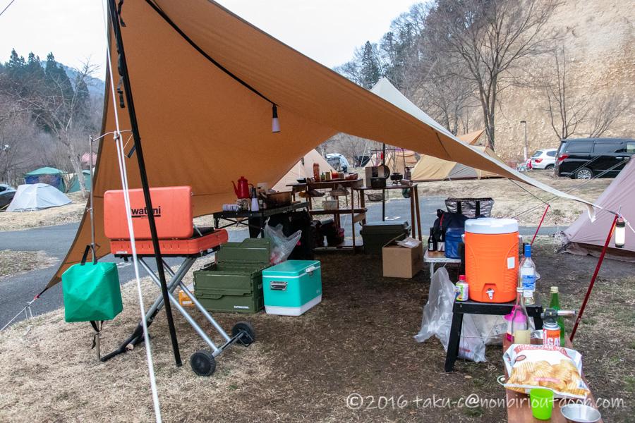 湯島オートキャンプ場の撤収の朝