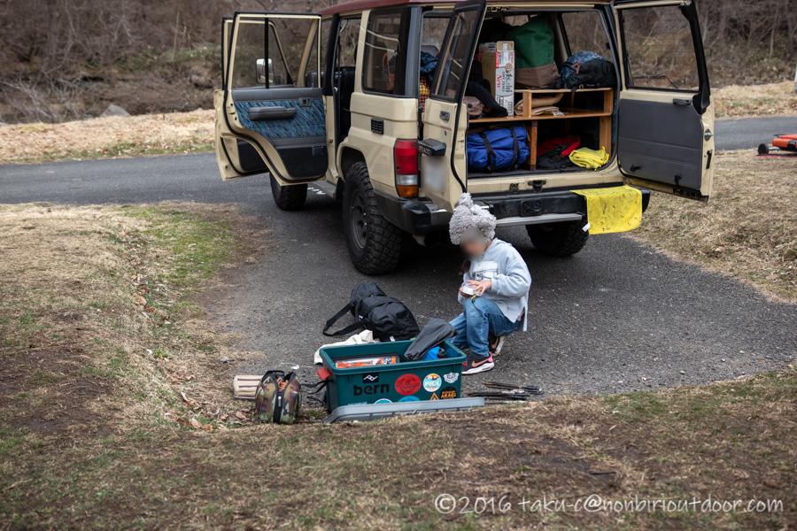湯島オートキャンプ場の撤収作業