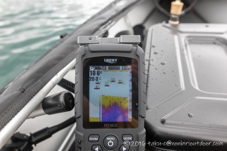 2021年06月02日の芦ノ湖でカヤック(フジタカヌー)に取り付けた魚探