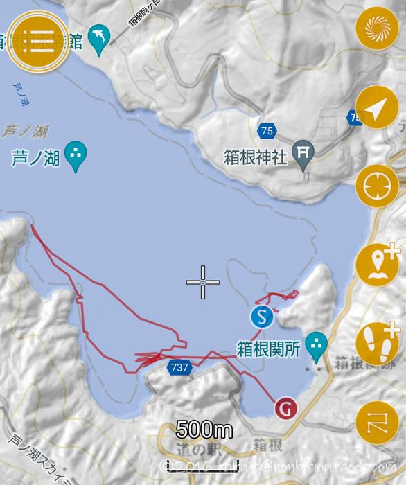 2021年06月02日の芦ノ湖でカヤック(フジタカヌー)からのジギングでの移動距離