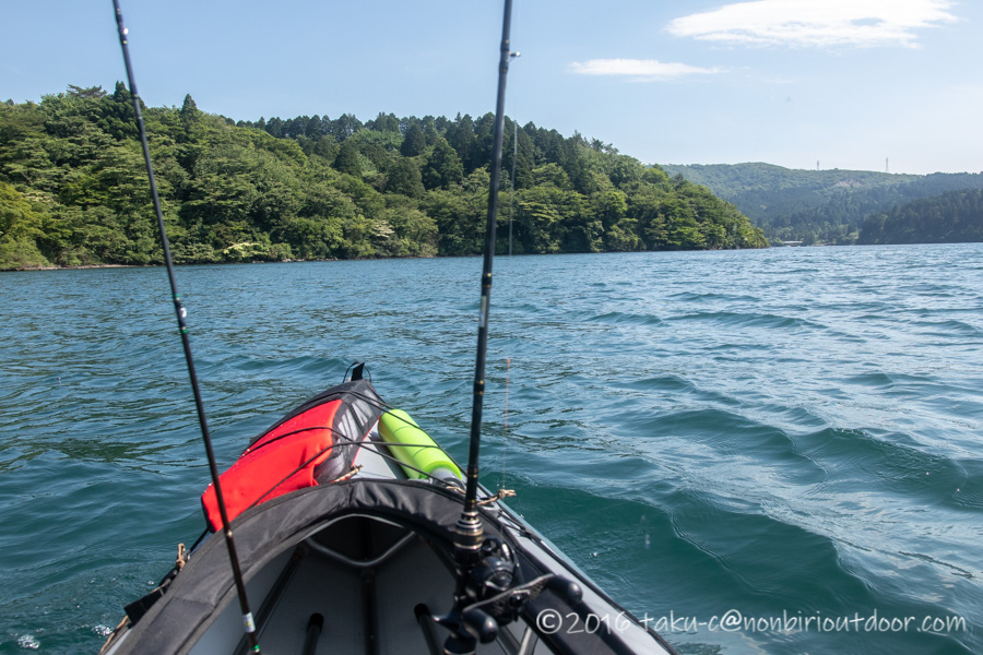 2021年6月9日の芦ノ湖でのレイクジギングは風が強かった